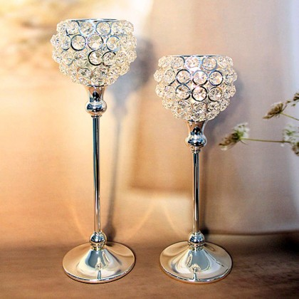 Pedestal Round Top Crystal Candle Holder
