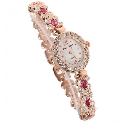 Crystal Accented Mother of Pearl Dial Watch