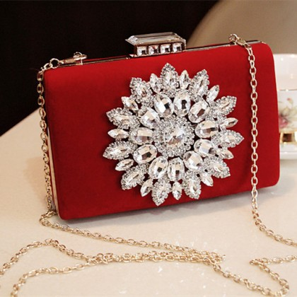 Handmade Red Crystal Purse