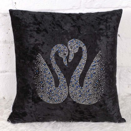 Black Velvet Swan Cushion Cover