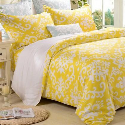 Damask Duvet Cover Set, Yellow