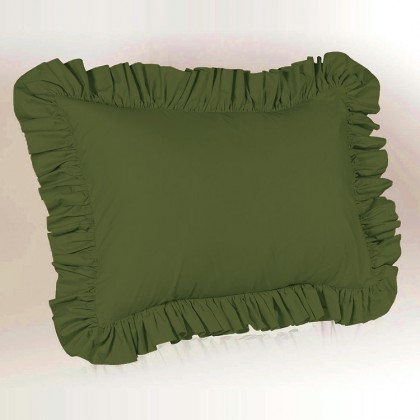 Simply Ruffle Pillow Cover - Dark Olive Green