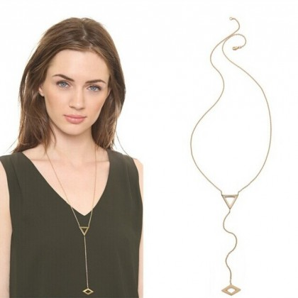 Triangle Diamond Rhombus Lariat Gold Necklace