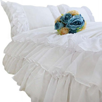 Diana White Ruffle  Duvet Cover Set