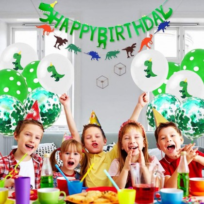 Dinosaur Happy Birthday Party Banner