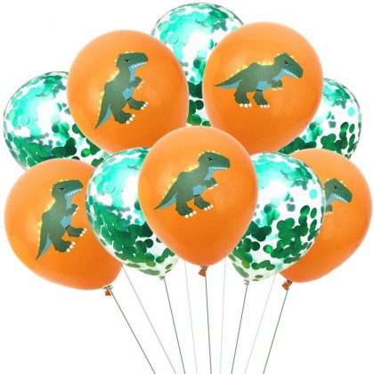 Dinosaur Party Latex Orange Green Confetti Balloons