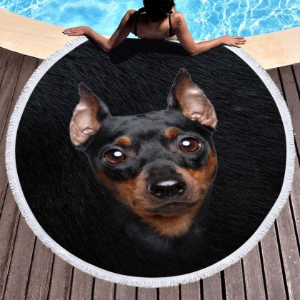 Innocent Dog Round Towel Picnic Beach Blanket