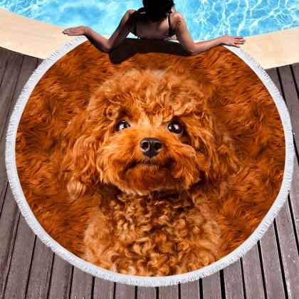 Dog Round Towel Picnic Beach Blanket Brown