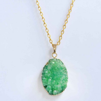 Green Druzy Gemstone Necklace