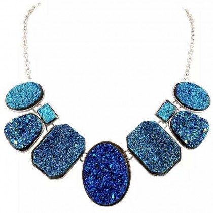 Dazzle Blue Titanium Druzy Necklace