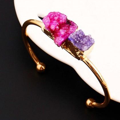 Druzy Purple Pink Cuff Bracelet
