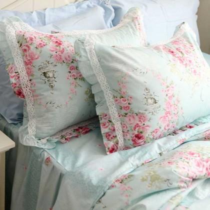 Victorian Blue Rose Pillow Sham