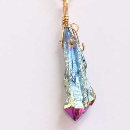 Electroplate Dazzle Raw Crystal Necklace