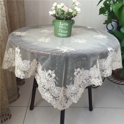 Delicate French Lace Table Topper