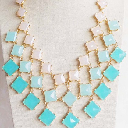 Aqua Square Stone Necklace