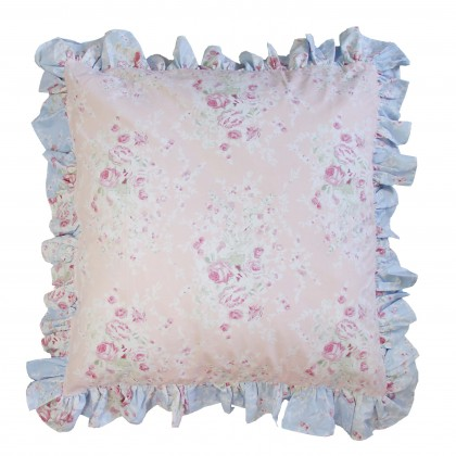 Pink Euro Sham with Blue Ruffle