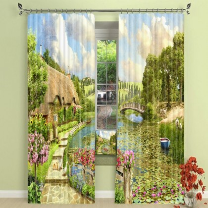 Country Rural Landscape Blackout Curtain Set