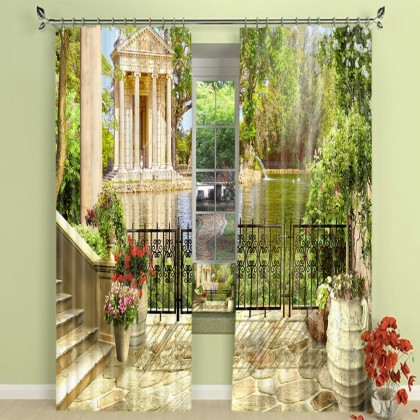 European Garden Pond Blackout Curtain Set