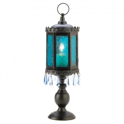 Exotic Azure Blue Pedestal Lantern
