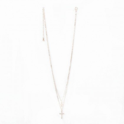 Faithful Cross Layered Necklace Ajustable Double Chain