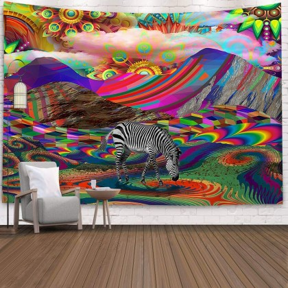 Magic Mountain Rainbow Zebra Fantasy Fashion Bohemian Wall Art Tapestry