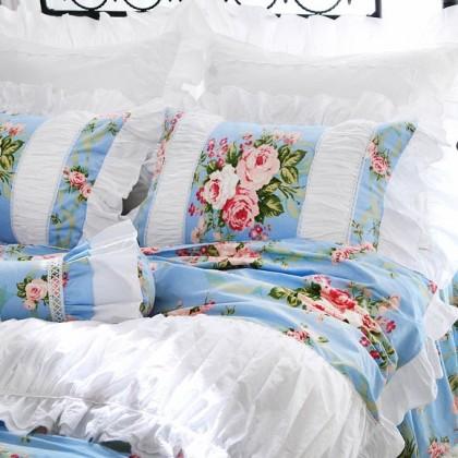 Blue Farmhouse Ruched Duvet Cover Set