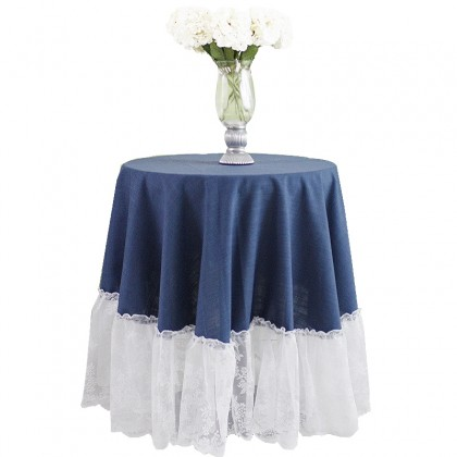 Farmhouse Blue Ruffle Tablecloth