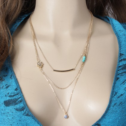 Lariat Layering Hamsa Hand Bar Turqoise Necklace