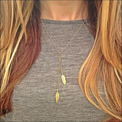 Lariat Gold Tone Feather Necklace