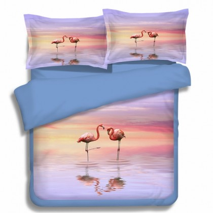 Sunset Flamingos Duvet Cover Set