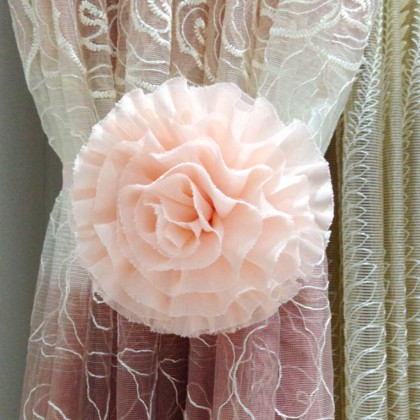 Pink Flower  Magnetic Curtain Holdbacks