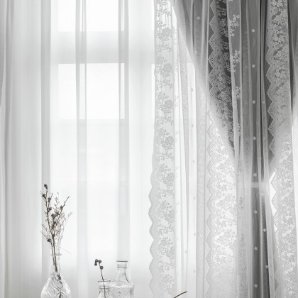 Embroidery Floral Lace Curtain Set (1 pair)