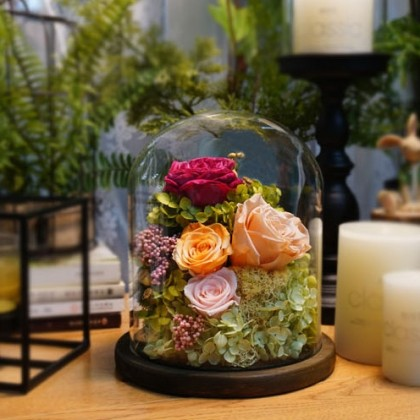 Forever Roses in Glass Dome