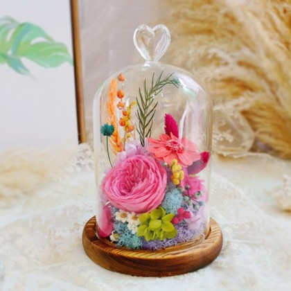 Pink Forever Roses in Glass Dome