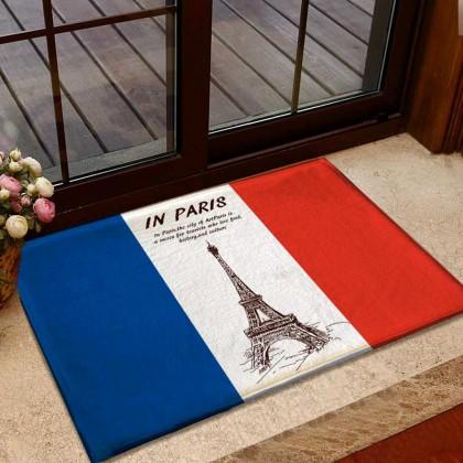 French Flag Eiffel Tower Doormat Rug