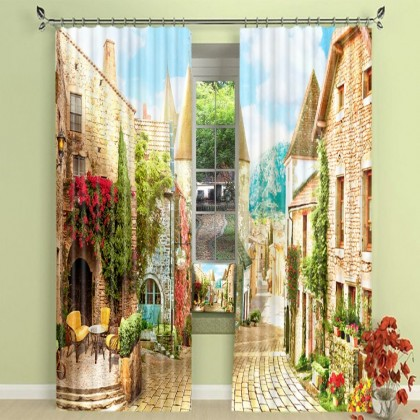 French Village Street Blackout Curtain Set