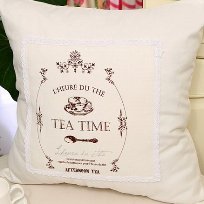 French Tea Time Linen Cushion Cover Set