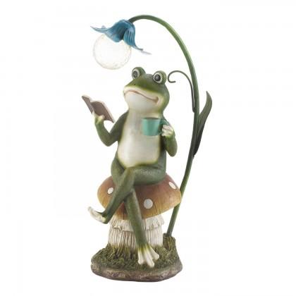 Frog On A Mushroom Solar Statue