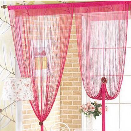 Fuschia String Curtain Panel