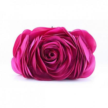 3D Rose Purse, Fuschia