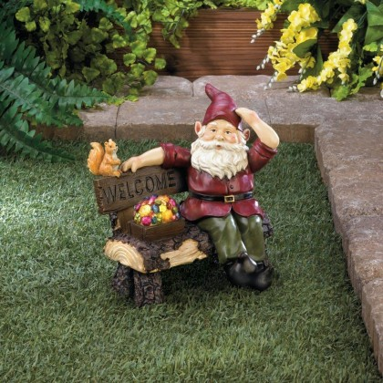 Garden Gnome Welcome Statue with Gemstone Solar Light