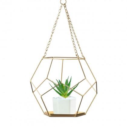 Geometric Plant Holder, Diamond Gold Wire Prism, Succulent Planter Pot