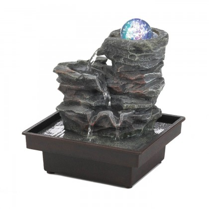 Glass Orb On Rocks Tabletop Fountain