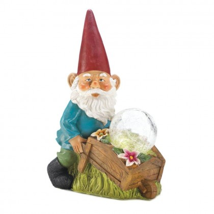Gnome With Wheel Barrow Solar Statue