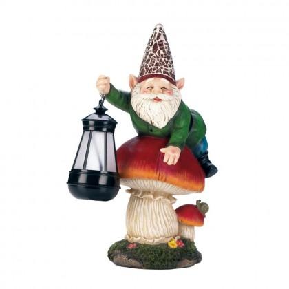Gnome On Mushroom with Solar Powered Lantern