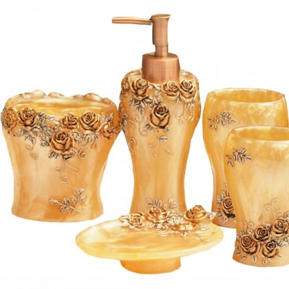 Golden Rose Bathroom Set 5pcs