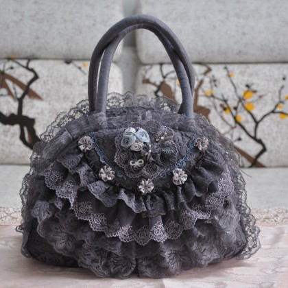 Gray Lace Ruffled Bag