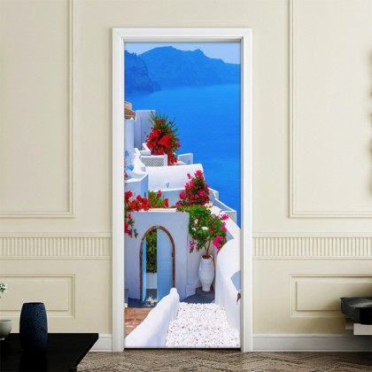 Greek Mediterranean Bougainvillea Door Wall Mural Poster Decal