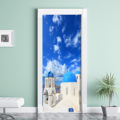 Greek Mediterranean Sky Door Wall Mural Poster Decal