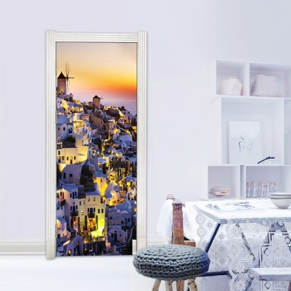 Greek Mediterranean Night View Door Wall Mural Poster Decal